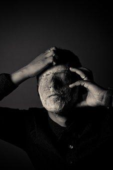 Dark, Black And White, People, Man, Mask
