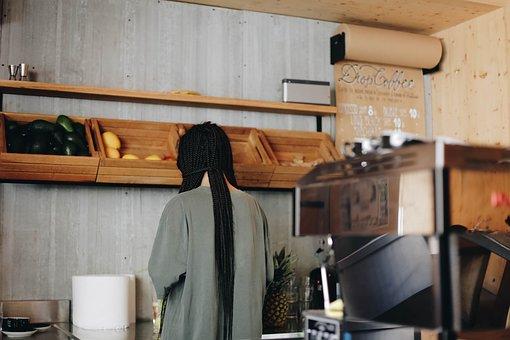 People, Man, Kitchen, Counter, Long Hair, Coffee, Shop