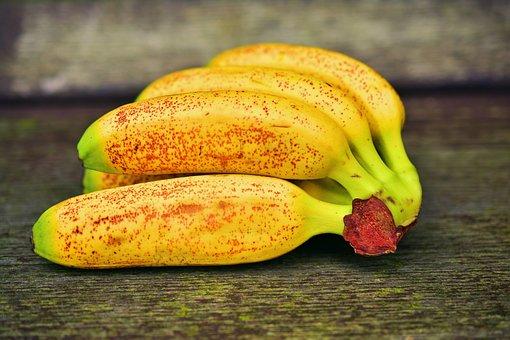Baby Bananas, Mini Bananas, Bananas, Fruit, Yellow