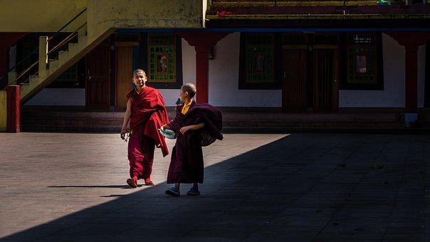 Monk Kids, Small Lama, Monastery, Religious, Asia, Bu