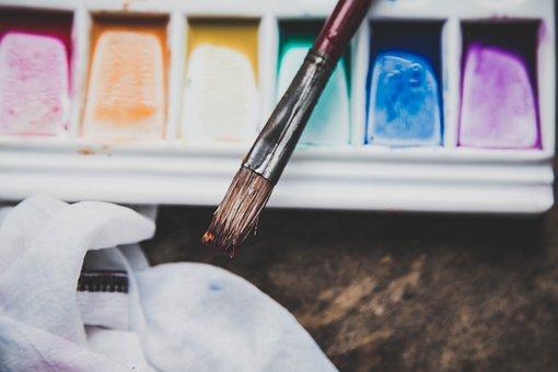 Colour, Vibrant, Bright, Paint, Brush, Blue, Yellow