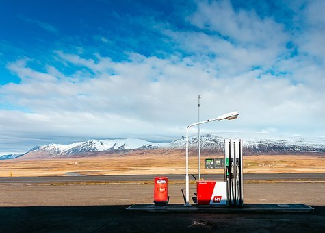 Gas, Station, Lamp, Post, Clouds, Sky, Summer, Road