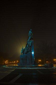 Monument, Fog, Rays, Shadow, Silhouette, Shevchenko