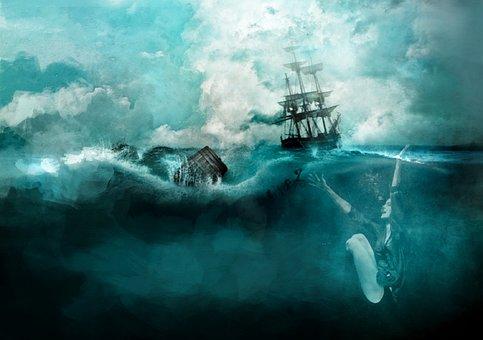 Sea, Ship, Woman, Graphic, Boat, Ocean, Marine, Texture