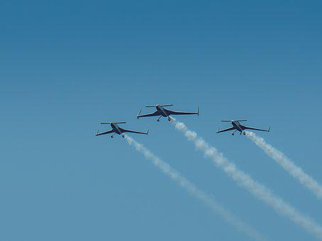 Air Festival, Flight, Aircraft, Smoke, Sky, Blue