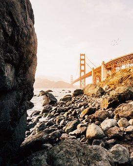 Architecture, Bridge, Sky, Rocks, Coast, Sea, Ocean