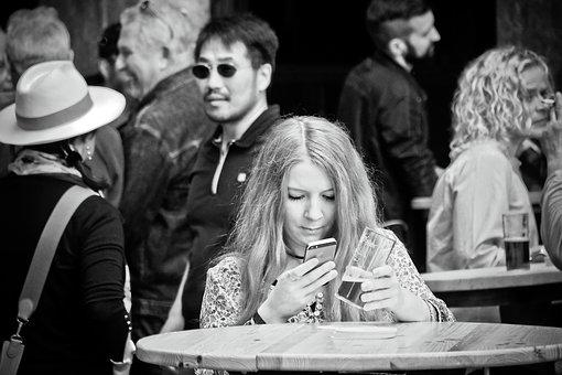 Woman, Beer, Smartphone, Mobile Phone, Sms, Message