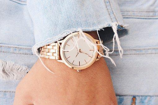 Hand, Wrist, Gold, Watch, Time, Denim