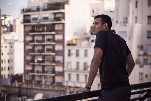 People, Man, Balcony, Terrace, Urban, City