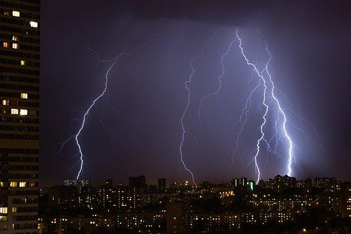Zipper, Thunderstorm, City, Rain, Sky, Clouds, Night