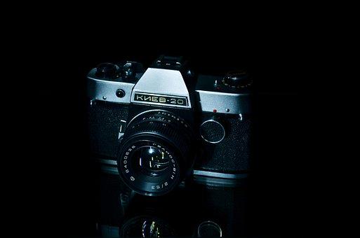 Camera, Kiev 20, Film, Old, Black Background, Manual