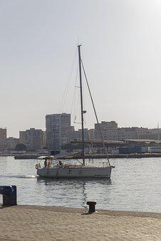 Boat, Sunset, Malaga, Sun, Sea