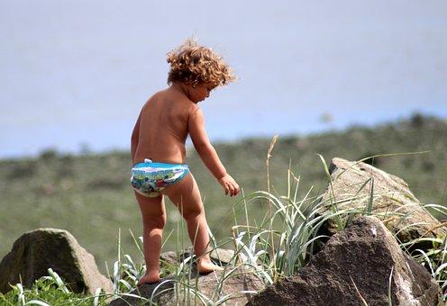 Beach, Baby, Child, Childhood, Fun, Boy, Play, Climbing