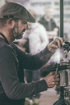 People, Man, Worker, Bartender, Coffeemaker, Smoke, Hot