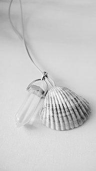 Pendant, Crystal, Shell, Lunar, Stone, Black And White