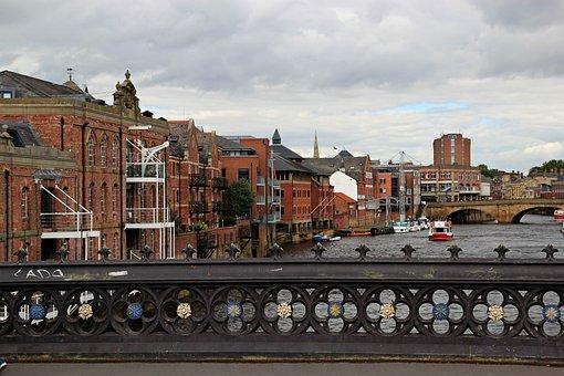 England, York, City, Bridge, Houses, River, Old