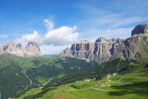 Trentino, Dolomites, Pordoi Pass, Landscape, Prato, Sky