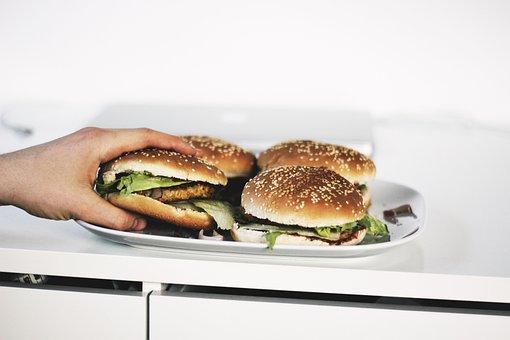 Sandwich, Food, Burger, Vegetables, Bum, Plate, Meat