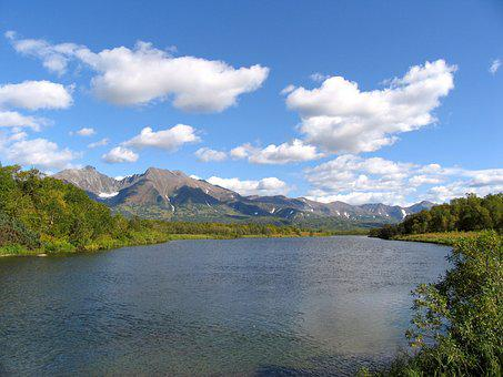 River, Back On Track, Bend, Mountains, Volcano, Sky