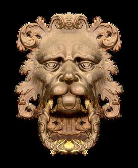 Doorknocker, Lion, Lion Head, Old, Input, Door, Metal