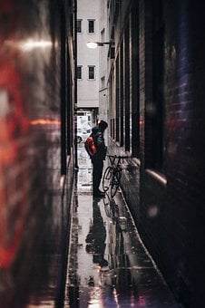 People, Man, Alone, Alley, Sad, Rain, Bicycle, Bike