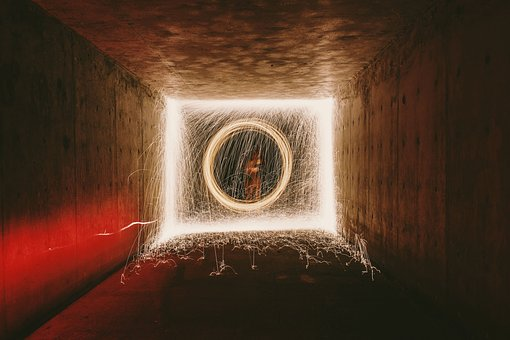 Long Exposure, Spark, Tunnel, People, Fire, Light, Dark