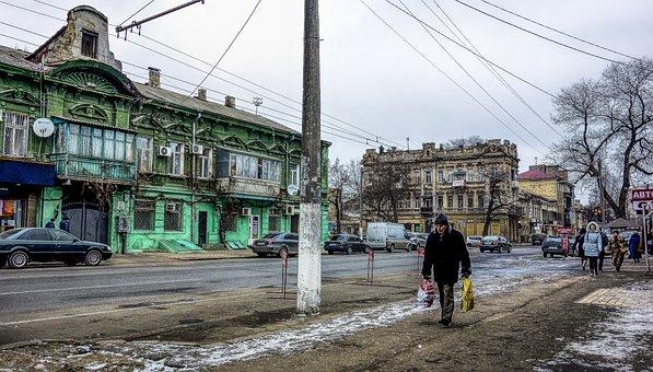Odessa, House, Old, Street, People
