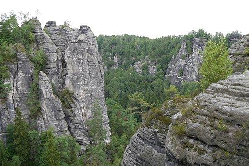 Bastei, Felsen, Germany, Rock, Landscape, Nature