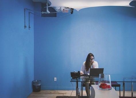 People, Woman, Eyeglasses, Laptop, Technology, Table
