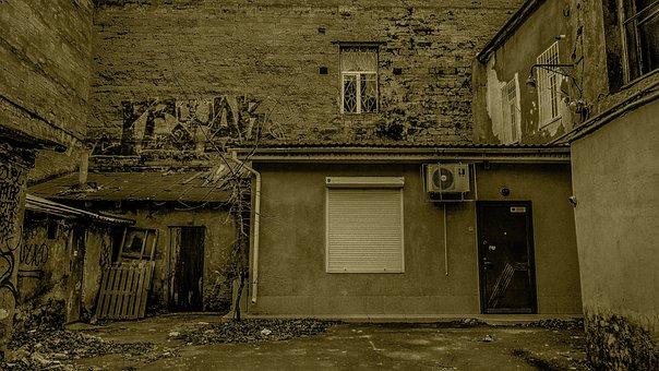 Yard, House, Door, Odessa
