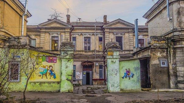 Odessa, Yard, Fence, Varota, Painting