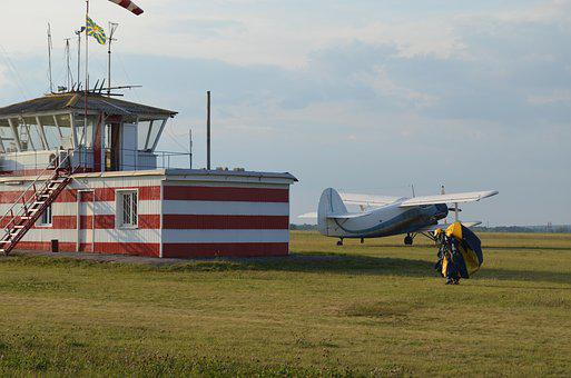 Dispatch, Airfield, Plane, Skydiver, Preparation