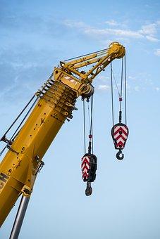 Crane, Autokran, Raise, Last, Lift, Steel Cable, Use
