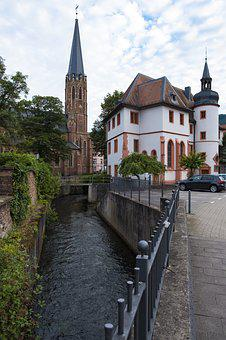 Church, Building, City, Channel, River, Bach, Water