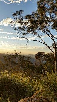 Sunset, Clouds, Hills, Australian Bush, Binna Burra