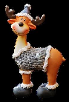 Christmas, Moose, Santa Hat, Fun, Funny, Cute, Deco