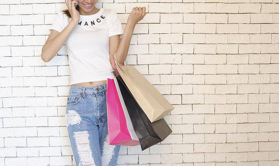 Girl, Shopping Bags, Standing, Talking, On The Phone