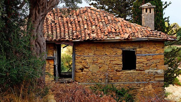 House, Roof Tile, Wall, Old, Stone, Structure, Grunge