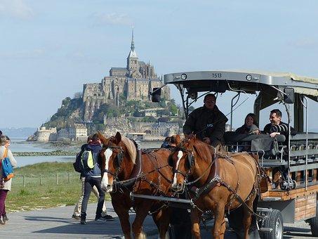 Mont Saint Michel, Hitch, Horse, Horses, Transport