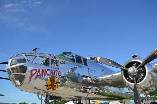 Aircraft, B25, Vintage, War, Aviation, B-25, Mitchell