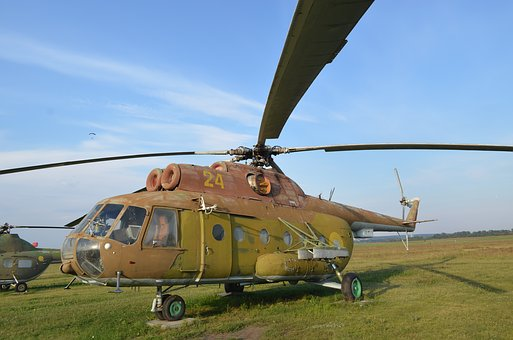 Helicopter, Blades, Old, Airfield, Mi-8