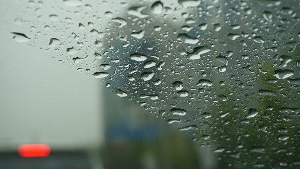 Non, Car Window, Trickle, Raindrops, Window