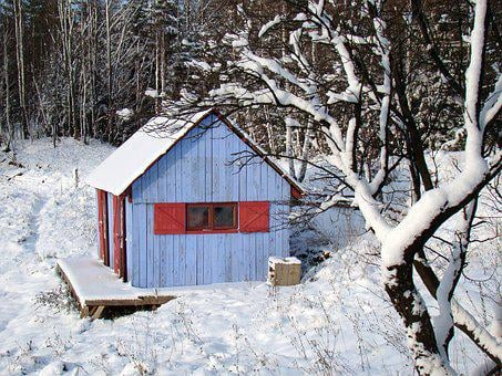 Winter, Blue House, Red Shutters, Hut, Wooden Cottage