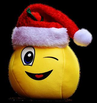 Christmas, Smiley, Funny, Laugh, Wink, Santa Hat