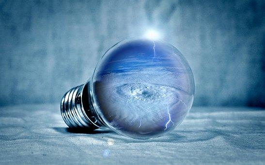 Light Bulb, Tornado, Clouds, Selva Marine, Light, Pear