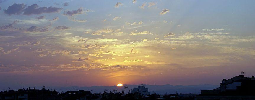 Sun, Dawn, Horizon, Sky, Sunrise Landscape, Clouds