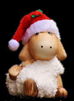 Christmas, Sheep, Figure, Soft Toy, Santa Hat, Toys