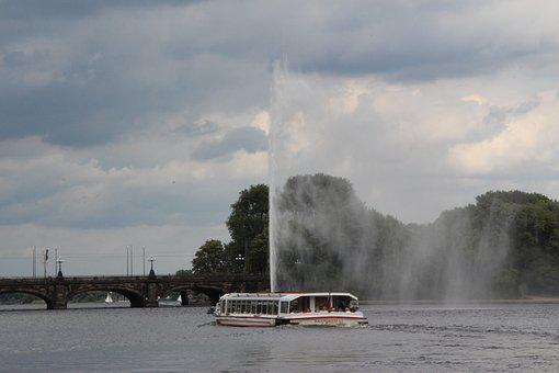 Jungfernstieg, Steamer, Water, Boat Trip, Ship, Nature