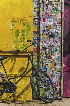 Bicycle, Bike, Aesthetic, Stickers, Vandalism, Paper