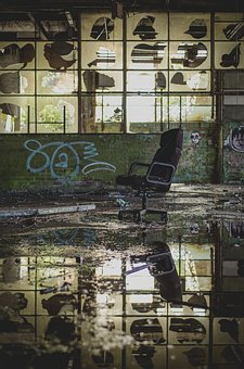 Chair, Reflection, Water, Flood, Abandoned, Building